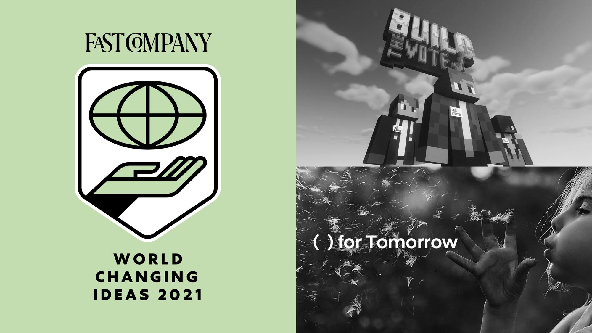 Fast Company logo avec image de Build the Vote et Hyundai for tomorrow