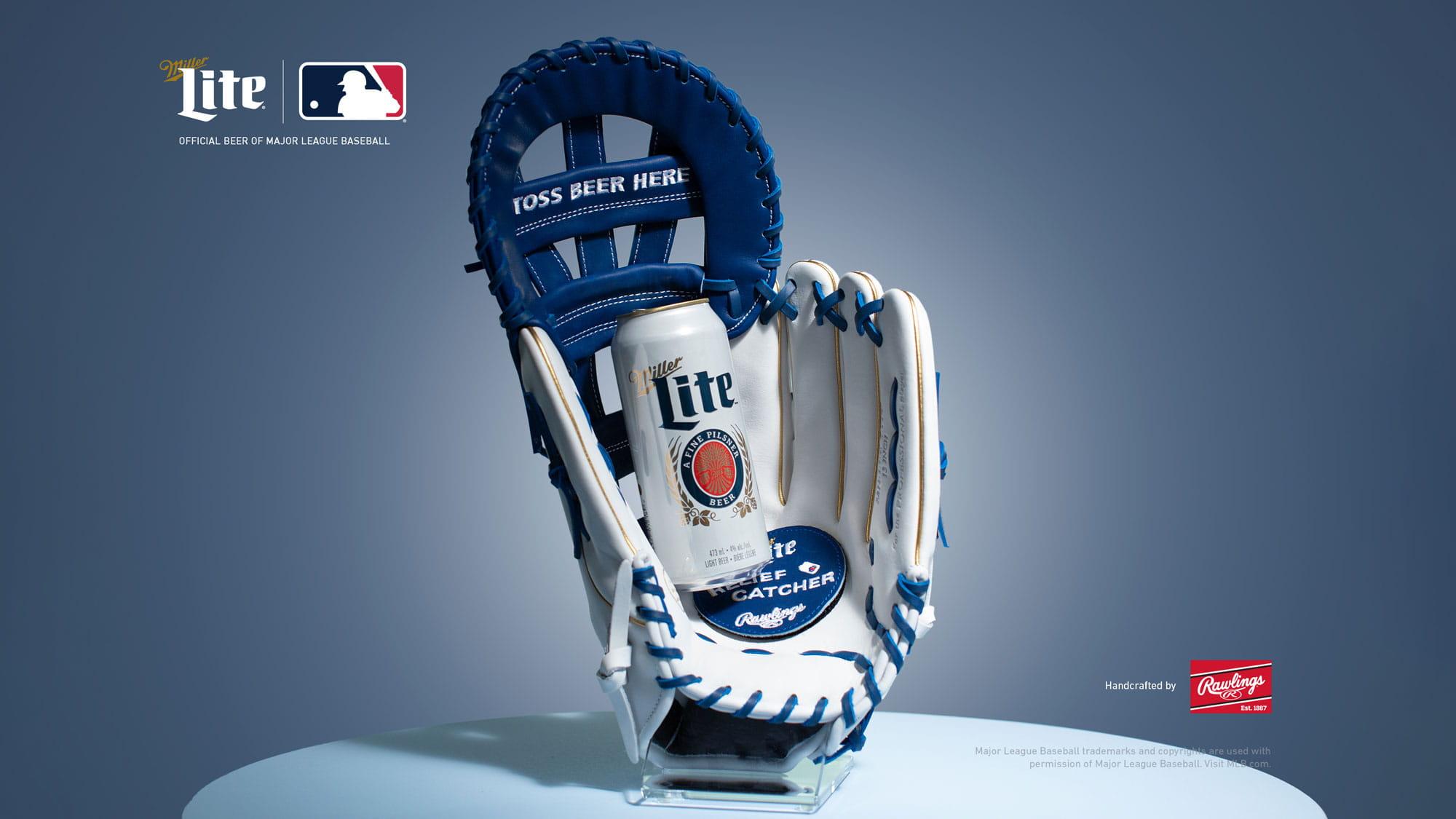 Miller Lite baseball glove with beer can inside