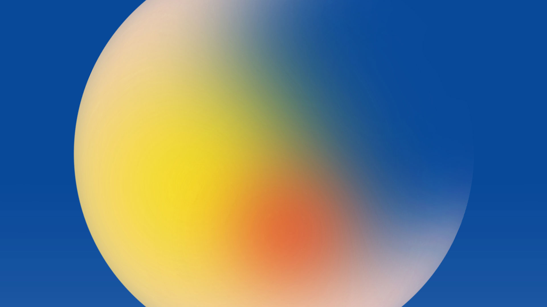 Image of a sphere with red blue and yellow gradient