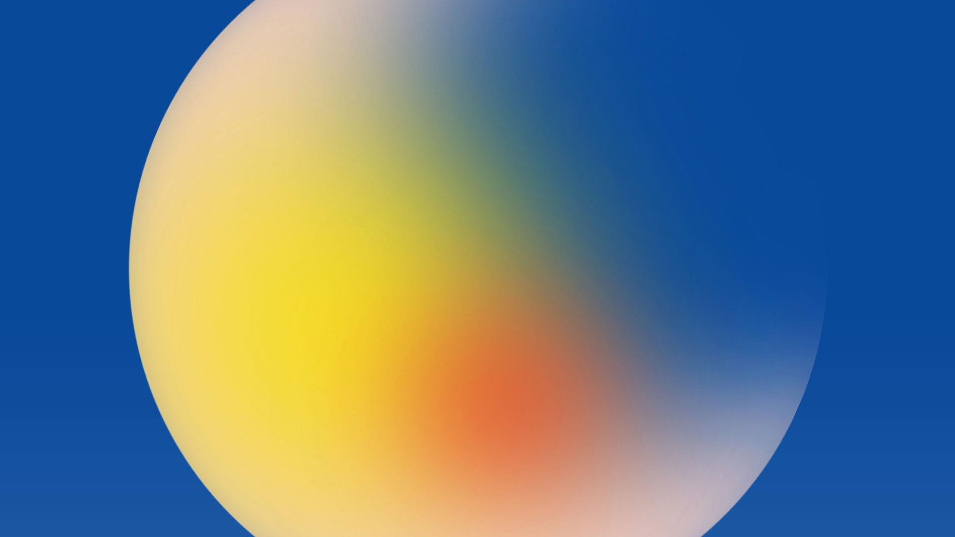 Image d'une sphère avec une gradation de rouge, bleu et jaune